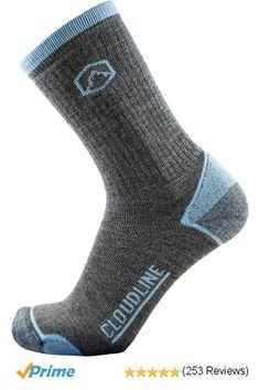 8eb958bd7841d Amazon.com: CloudLine Merino Wool Crew Hiking & Trekking Socks - Medium  Cushion - for Men & Women: Clothing