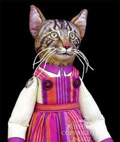 Daphne, tabby cat folk art doll by Max Bailey