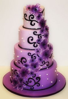 Purple and Black Wedding Cake..with calla lillies & square not round