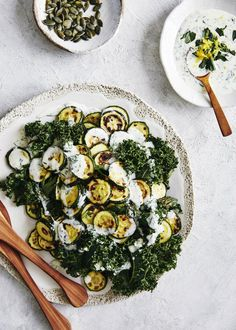 roasted zucchini and kale salad