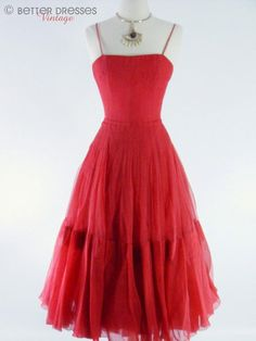Vintage 1940s red silk chiffon party dress.