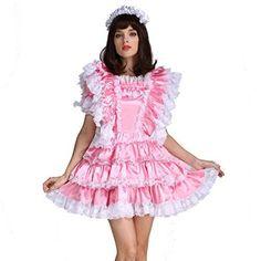 Gocebaby-Sissy-Girl-Maid-Satin-Pink-Lockable-Dress-Costume-Uniform-Crossdressing-0-4