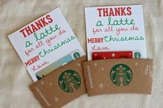 diy | thanks a latte teacher gift: for christmas. Would be great to put in a coffee mug. Super cute! by dolores