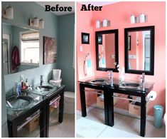 Be inspired by this feminine coral bathroom makeover. Updated bathroom makeover for only $150, with the help of the Home Depot.