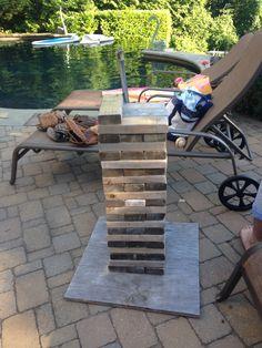 Lifesize Jenga - so easy to make with blocks of wood.