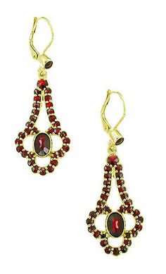 Victorian Bohemian Garnet Drop Earrings in 14 Karat Yellow Gold and Sterling Silver Vermeil - Item: E140