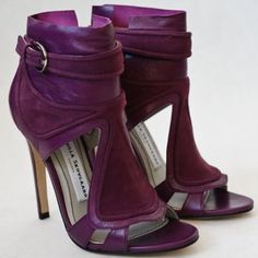 Camila Skovgaards Perfection in BurGunddy Purple FUsion SUede & Leather Buckle up Peeop tOe Booties