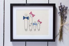 Safety pin family A personal favourite from my Etsy shop https://www.etsy.com/uk/listing/515973840/safety-pin-family-embroidered-mounted