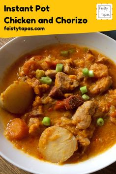 A delicious and super easy pressure cooked Chicken Chorizo recipe for the Instant Pot #feistytapas #instantpot Chicken Chorizo Recipe, Chorizo Recipes, Tapas Recipes, Cooked Chicken, Yummy Chicken Recipes, How To Cook Chicken, Easy Dinner Recipes, Meat Recipes, Potted Meat Recipe