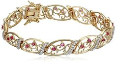 18k Yellow Gold-Plated Sterling Silver Ruby and Diamond Accent Bracelet ) *** More info could be found at the image url. (This is an affiliate link) #WomenBracelets