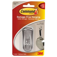 Command Strips 17071BN Medium Brushed Command Hook With 2 Adhesive Strips