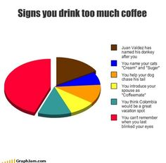Signs you drink too much coffee - GraphJam - coffee - Music Culture for People Who Love Charts - funny graphs - Cheezburger Coffee Talk, I Love Coffee, Coffee Coffee, Coffee Quotes, Coffee Humor, Funny Pie Charts, Saturday Coffee, Great Vacation Spots, Death Before Decaf