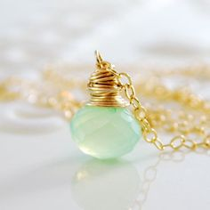 Mint Green Chalcedony Necklace, Semiprecious Gemstone Onion, Gold or Silver Wire Wrapped, Simple Jewelry, Free Shipping. $57.00, via Etsy.