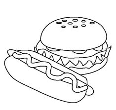 food hamburger models coloring pages for kids printable food coloring pages for kids