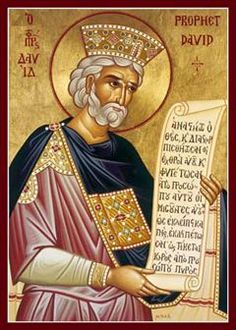 "King David of Israel, the Prophet, celebrated the second Sunday before the Nativity of our Lord, and also the first Sunday after. ""Blessed is the man […] whose delight is in the law of the Lord. Religious Images, Religious Icons, Religious Art, Religious Paintings, Roi David, Prophets And Kings, Byzantine Art, Byzantine Icons, King David"