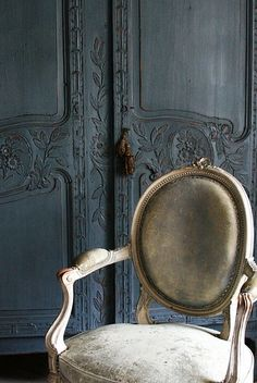Stunning French Armoire & French Chair, colors, contrast & details.