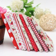 1 Set Red Series 10 Assorted Cotton Quilting Fabric For Sewing