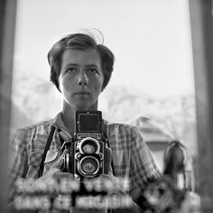 "Self Portrait, 1959 - Vivian Maier.  She is probably one of the most talented street photographers unknown to the world until John Maloof uncovered her incredible collection of 100,000 negatives she kept to herself until 2007.  Check out her story in the upcoming film ""Finding Vivian Maier""  http://findingvivianmaier.com"