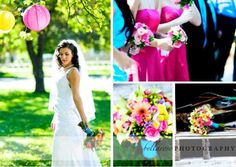 wedding Vibrant Colorful Hot Pink Yellow Orange Teal Aqua Outdoor Wedding