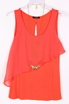 Lilly Chiffon Top in Persimmon...this top is so cute!  and the necklace is perfect.