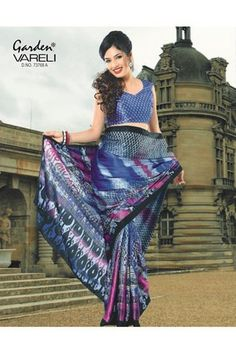 Buy Style Drive #Blue and #Pink Crepe Saree with mix of colors and patterns at Rs.1,211/-