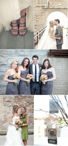Grey dresses and coral flowers