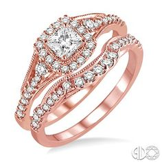 5/8 Ctw Diamond Wedding Set with 1/2 Ctw Princess Cut Engagement Ring and 1/6 Ctw Wedding Band in 14K Pink Gold