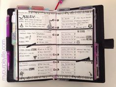 A5 Purple Malden FilofaxThis weeks theme: MusicColors: Black and White Compact Black Chameleon Filofax  Items used: (*Please Scroll Over the Items and click for the link) Filofax Black Chameleon Com