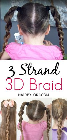 Video tutorial: 3 strand braid - a fun hairstyle for kids and super easy Best Hairstyle For Kids, Easy Hairstyles For Kids, Step By Step Hairstyles, Casual Hairstyles, Fringe Hairstyles, Little Girl Hairstyles, Hairstyles For School, Braided Hairstyles, Cool Hairstyles