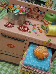 Vintage toy stove cooking up sew much yumminess!!  :)  I loved my pink stove..