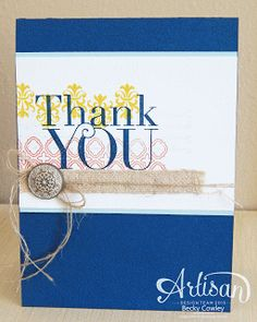 Stampin' Up! Thank You Card by Becky C at scrap junkie: Artisan Wednesday WOW!