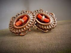 Vintage Victorian Revival Salmon Branch Coral Fancy Ornate Earrings Estate Lot #VictorianRevival