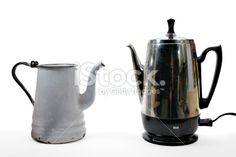 coffee makers old and new Royalty Free Stock Photo