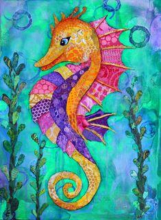 Items similar to PRINT - Seahorse - Paper Collage Print - Various Sizes - Sea Creatures - Marine Art - Bathroom Decor - Under the Sea - Lisa Morales on Etsy Seahorse Painting, Seahorse Art, Seahorses, Sea Art, Fish Art, Whimsical Art, Community Art, Collage Art, Art Lessons