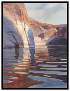 """Escalante Morning #5"" - Lake Powell Original Watercolor by David Drummond Great Reads from Exceptional Authors at http://wildbluepress.com. True crime, thrillers, mystery and business productivity books."