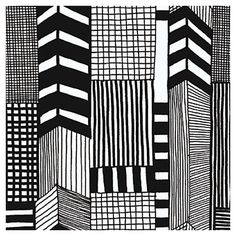 Black+and+white+wallpaper+with+sketch-inspired+motifs.+  Product:+WallpaperConstruction+Material:+PVC...