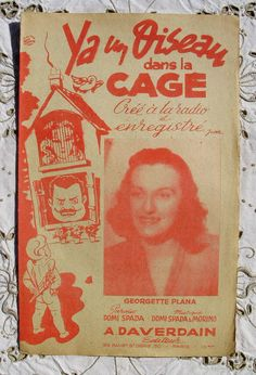 Vintage French Song / Sheet Music  Ya Un Oiseau Dans by ChicEtChoc, $7.00