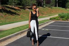 FASH Flash: Black Top, White Jean, and a Pop of Red | tykent