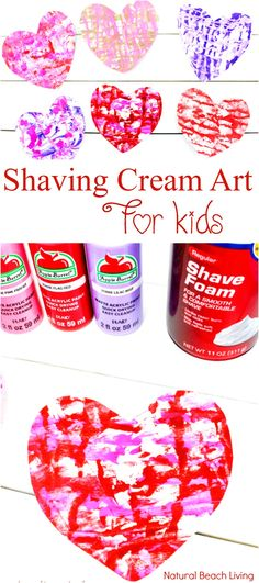 Shaving Cream Art Kids Love - Valentine Marbled Hearts for Preschoolers - Natural Beach Living