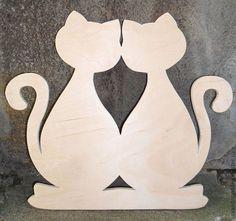 Купить Заготовка для декупажа Кот и Кошка. - бежевый, заготовка для декупажа, заготовка для росписи, заготовка для ключницы