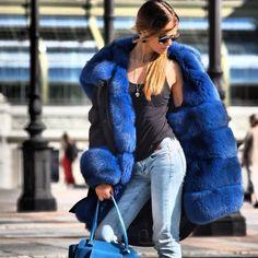 Badass Style, My Style, Fur Coat Fashion, Women's Fashion, Winter Fur Coats, Fox Fur Jacket, Parka, Blue Denim, Clothes For Women