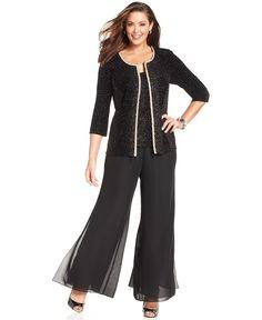 Plus Size Fancy Pant Suits | Beaded Georgette 3-Piece Evening Pant ...