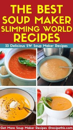 Slimming World Soup Maker Recipes. Introducing you to our full list of slimming world soup maker ideas. Clean Dinner Recipes, Clean Eating Dinner, Slow Cooker Recipes, Paleo Recipes, Cooking Recipes, Banting Recipes, Healthy Cooking, Healthy Eating, Slimming World Soup Recipes