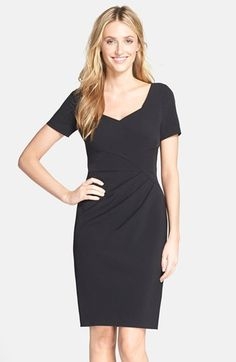 Free shipping and returns on Adrianna Papell Pleated Crepe Sheath Dress at Nordstrom.com. A sweetheart neckline and short sleeves lend timeless elegance to a smooth crepe sheath tailored with flattering pleated details.
