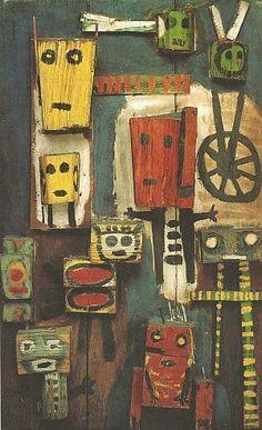 Karel Appel, Vragende kinderen, 1949, beschilderd hout, 105 x 67 x 18 cm, collectie Stedelijk Museum, Amsterdam