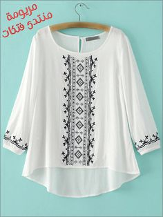 SheIn offers White Round Neck Embroidered Dip Hem Blouse & more to fit your fashionable needs. Kurta Designs, Blouse Designs, Teen Fashion Outfits, Fashion Dresses, Pakistani Dress Design, Embroidered Clothes, Clothing Labels, Mode Hijab, Embroidery Dress