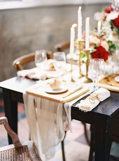 Elegant Vintage Farm Table | Marissa Lambert Photography | http://heyweddinglady.com/botanical-opulence-wedding-red-plum/