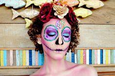 Maquiagem artística de Caveira Mexicana Sugar Skull Passo a passo mexican skull
