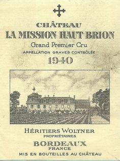 Vintage Wine Label CHATEAU LA MISSION HAUT BRION 1940