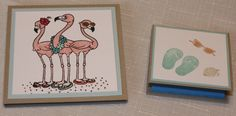 Beach/Flip Flop theme Post-It Note Holders  using Great Impressions Flamingo Stamp and retired SU stamps, Crumb Cake, Pool Party, and Whisper White Cardstock.  Blushing Bride, Pool Party, Bermuda Bay, Creamy Caramel, Crumb Cake, and Melon Mambo Inks